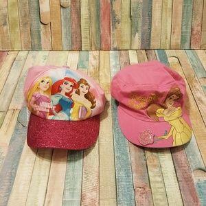 Lot of 2 princess themed little girls hats EUC